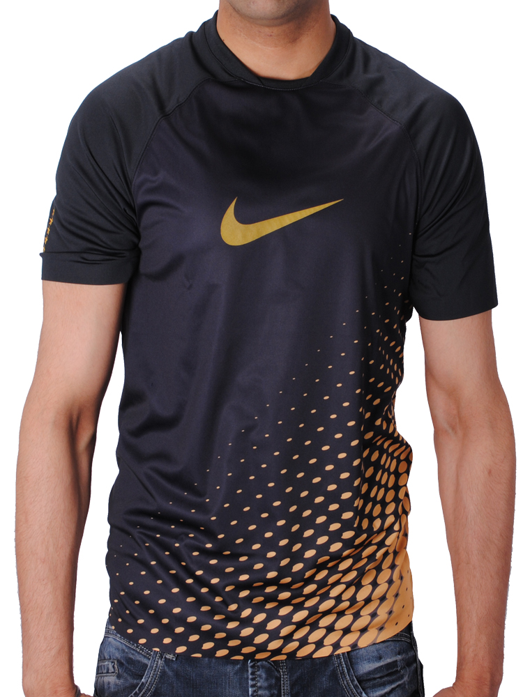Nike mercurial swoosh logo dry fit t shirt black gold mens for Nike swoosh logo t shirt