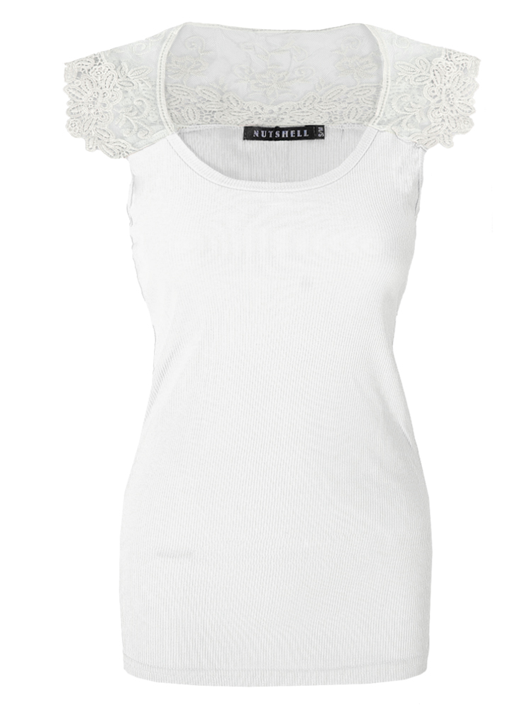Crochet-Lace-Back-Scoop-Neck-Cap-Sleeve-Ribbed-Long-Vest-Top-T-Shirt-Womens-Size