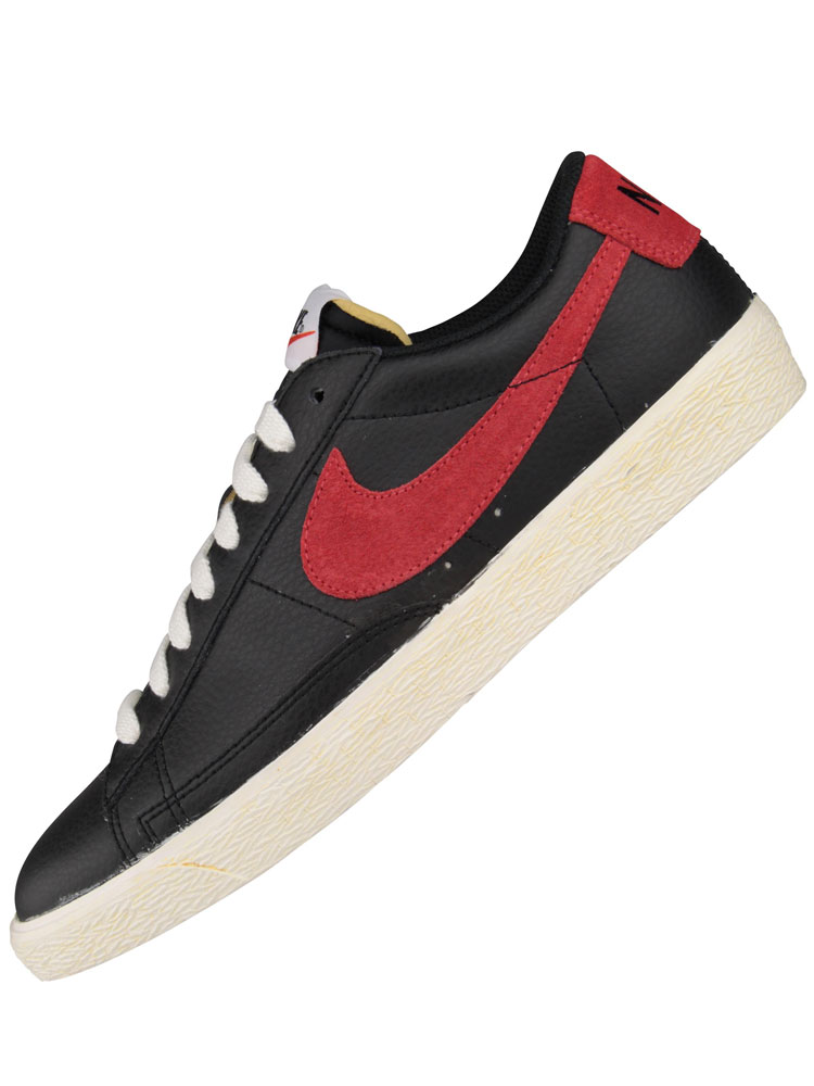 Nike Premium Vintage Leather Low Blazer Black/Red Trainers Shoes Mens Size | EBay