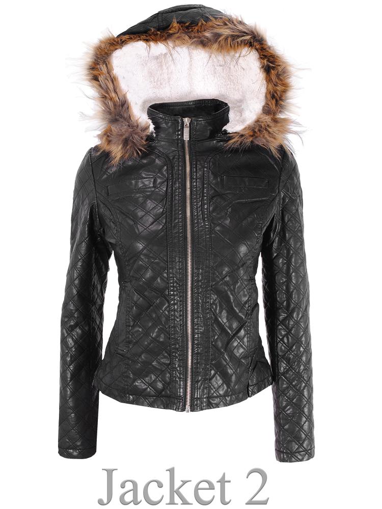 Leather Jacket with Fur Hood