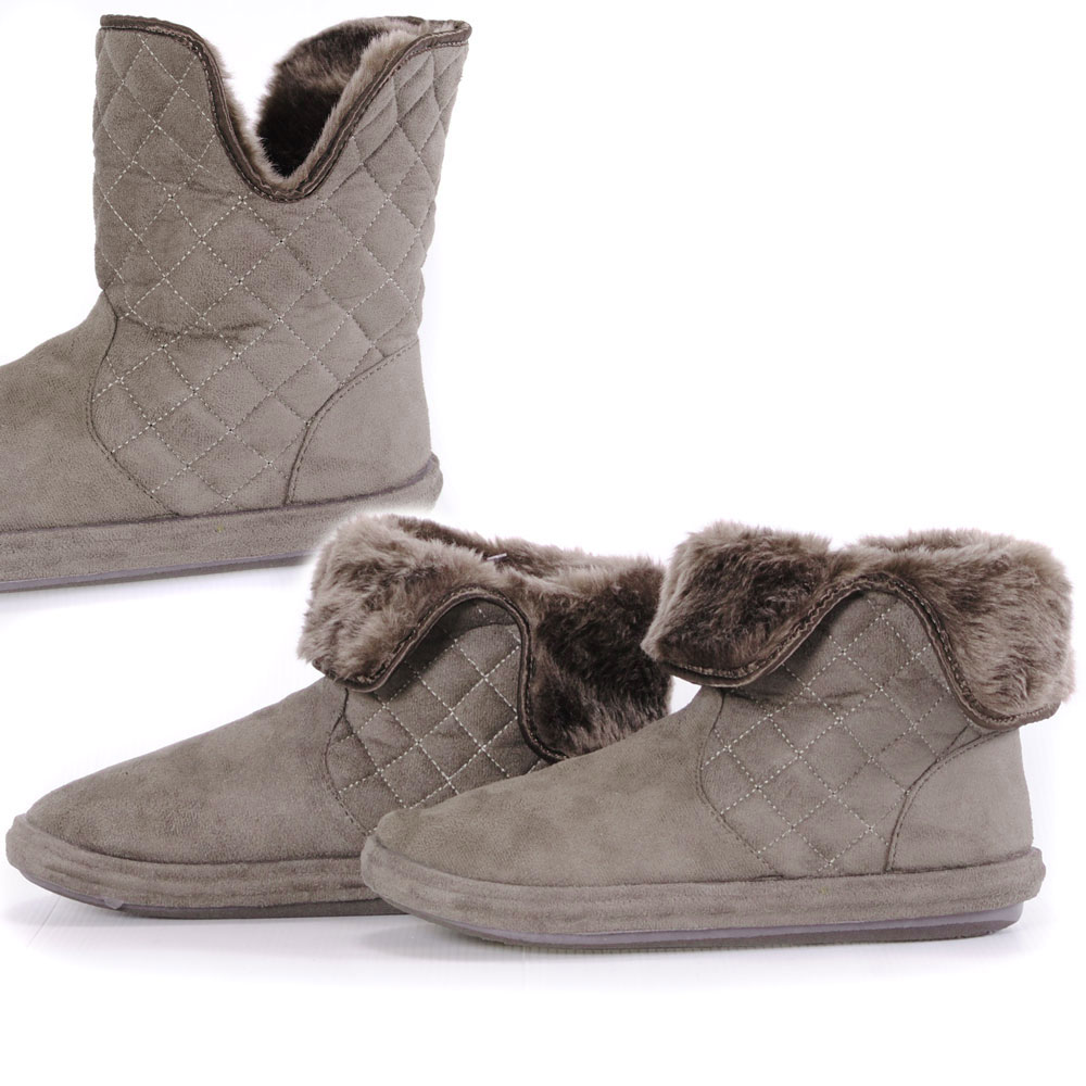 quilted fold fur lined womens soft suede slippers