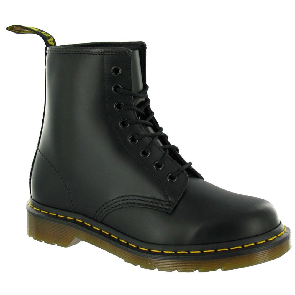 8 eyelet air wair dr doc martens 1460 smooth black leather boots womens size ebay. Black Bedroom Furniture Sets. Home Design Ideas