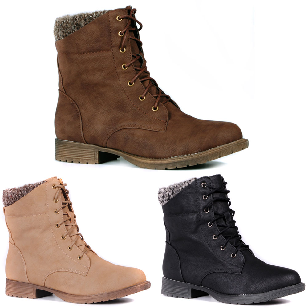 083fb9c4fd2b Leg Warmer Top Fleece Lined Leather Lace Up Flat Ankle Boot Shoes ...