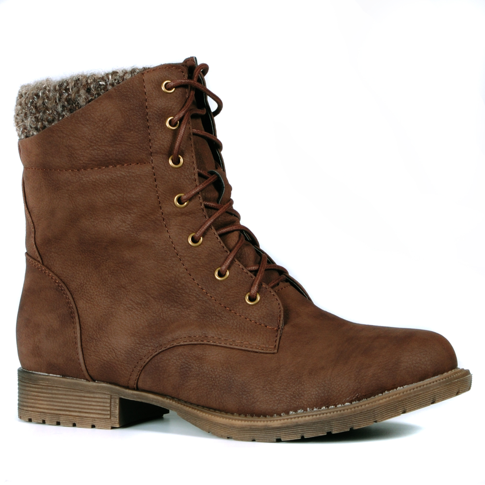 Top-Fleece-Lined-Leather-Lace-Up-Flat-Ankle-Boot-Shoes-Womens-Size