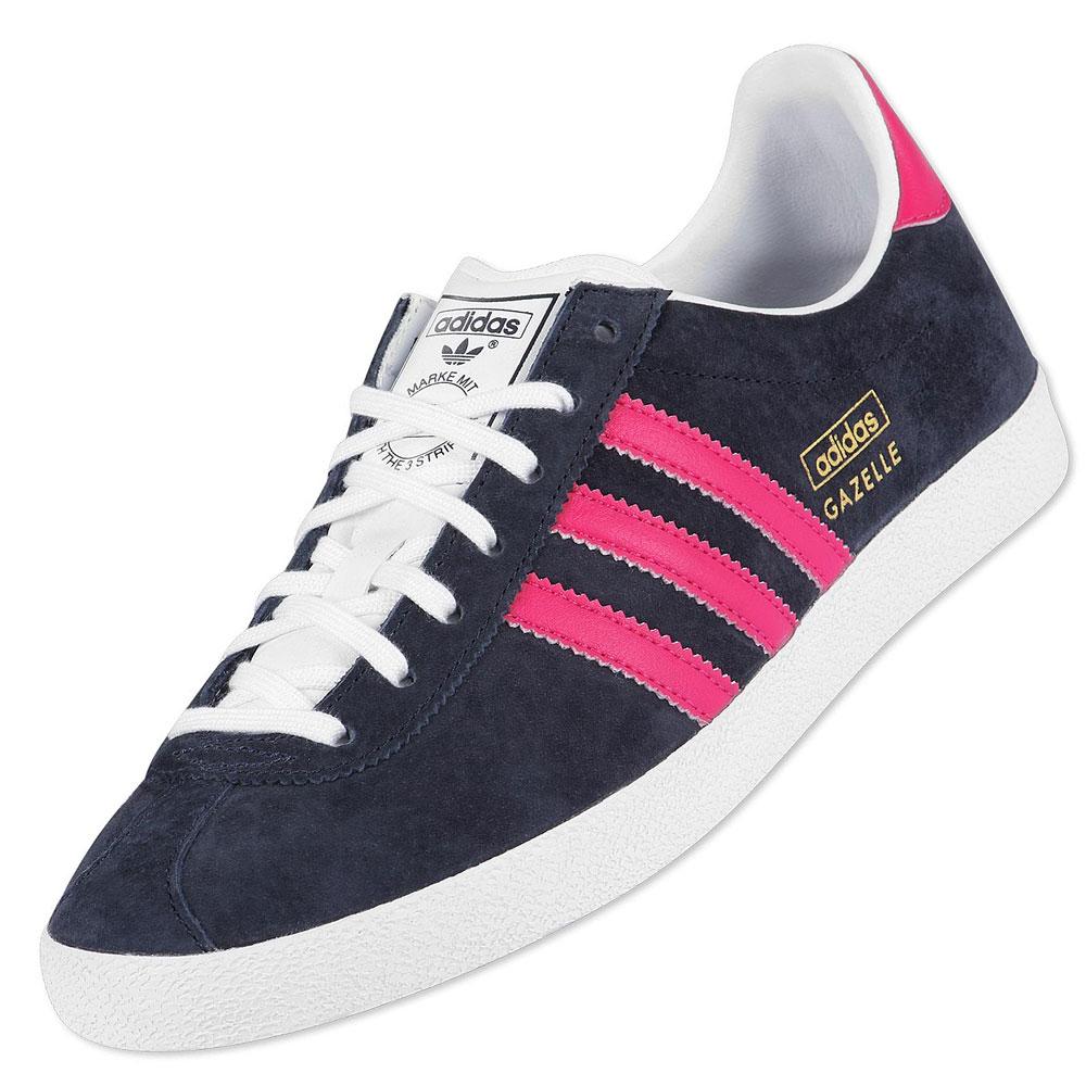 exclusive adidas originals gazelle og navy pink trainers. Black Bedroom Furniture Sets. Home Design Ideas
