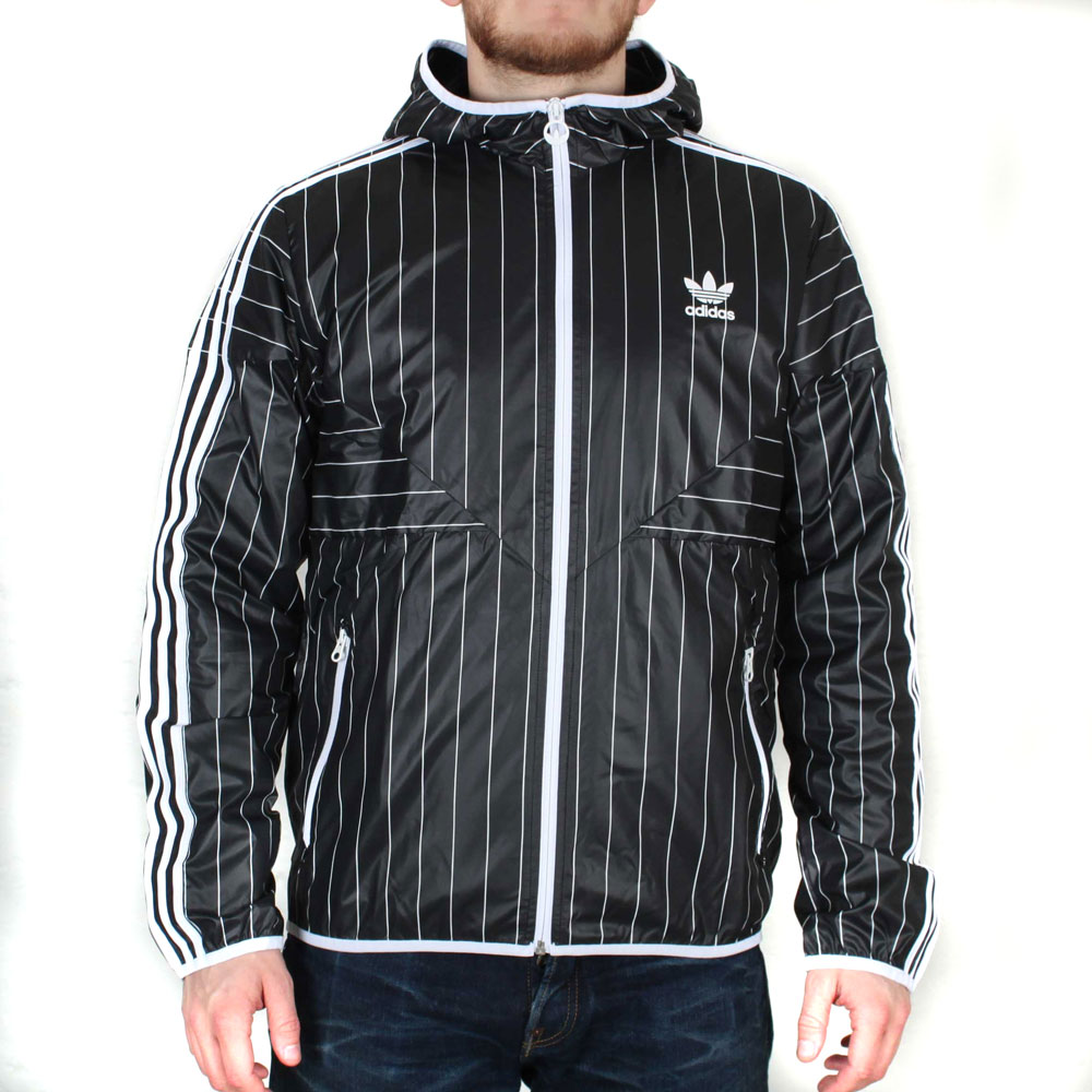 a0ad910a6 Image is loading Adidas-Originals-Colorado-Windbreaker-Black-Striped-Hooded- Jacket-
