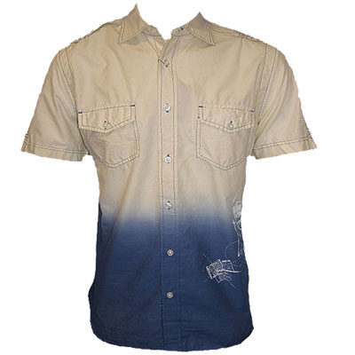 New-Short-Sleeve-Cream-Blue-Casual-Shirt-Mens-Size