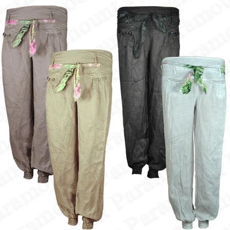 Womens ass in linen pants