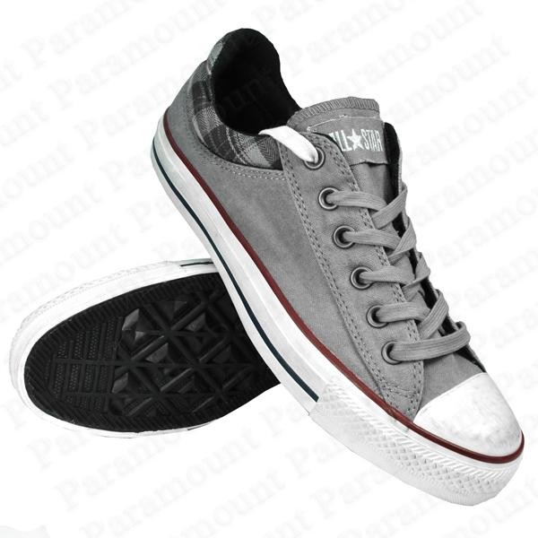 Converse Padded Collar 5 OX Canvas Trainers Pumps Grey/White Mens Size Enlarged Preview