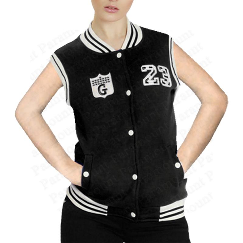 jacke damen baseball college rmellos weste 23 route g logo gilet. Black Bedroom Furniture Sets. Home Design Ideas