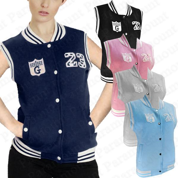 jacke damen baseball college rmellos weste 23 route g logo gilet frauen ebay. Black Bedroom Furniture Sets. Home Design Ideas