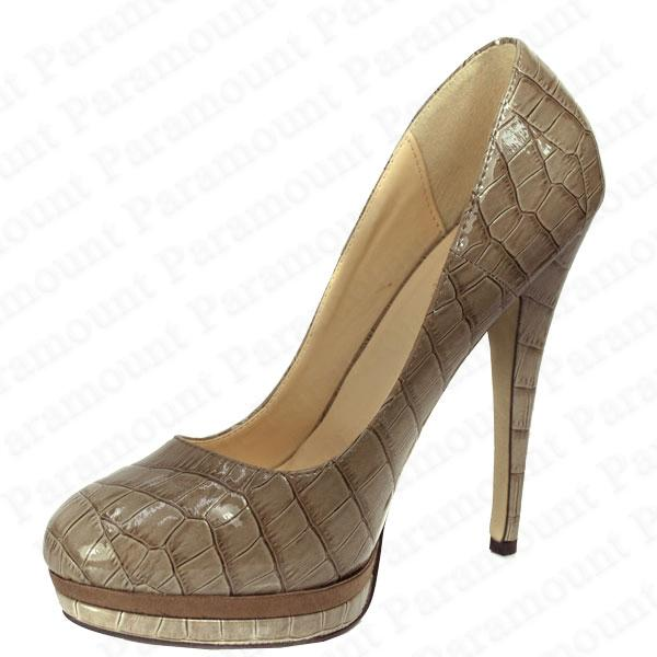 Patent Croc Leather Stiletto Court Shoes High Heel Platform Sandals Womens Size