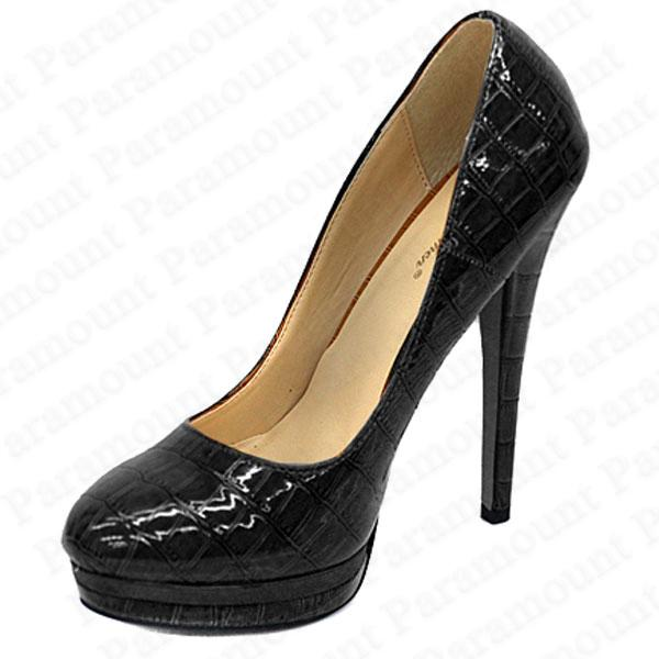 Patent Croc Leather Stiletto Court Shoes High Heel