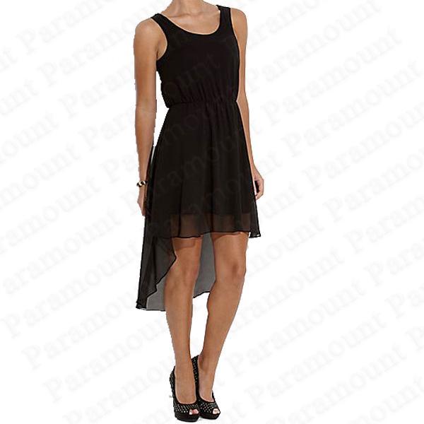 Ladies Chiffon Dip Back Hem Sheer High Low Skirt Dress