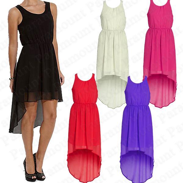 chiffon dip back hem sheer high low skirt dress