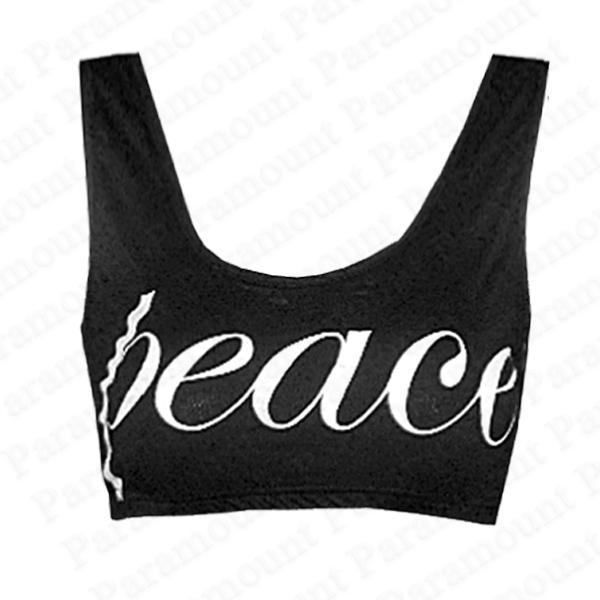Peace-Love-Slogan-Print-Bralet-Cropped-Top-Womens-Size-8-14