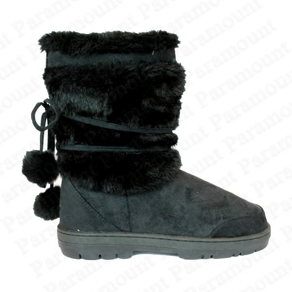 Designer-Ella-Fur-Winter-Snow-Short-Lined-Pom-Boot-Shoes-Womens-Size
