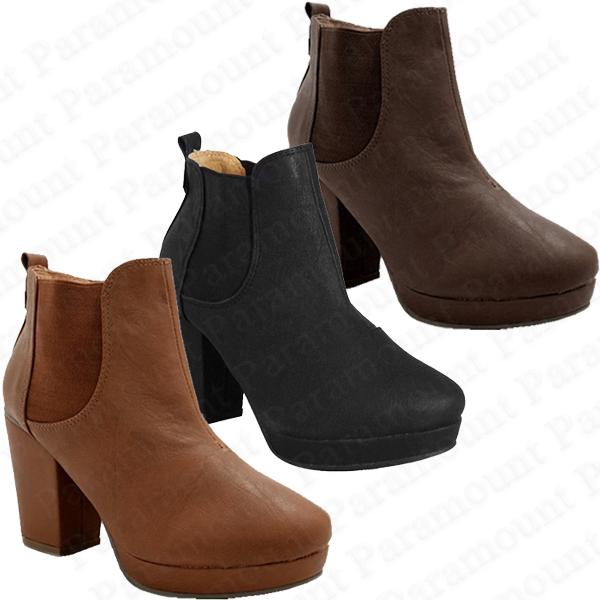 Block-Heel-Stretch-Leather-Riding-Pull-On-Ankle-Boot-Shoes-Womens-Size