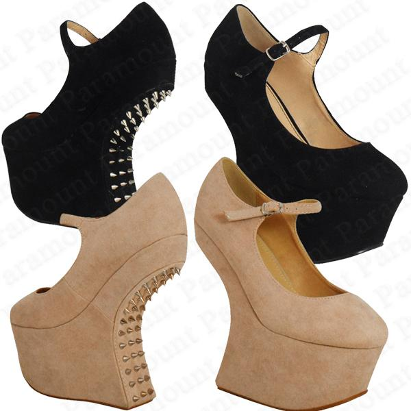 Spike-Studded-Heel-Less-Mary-Jane-Wedge-Platform-Party-Shoes-Womens-Size