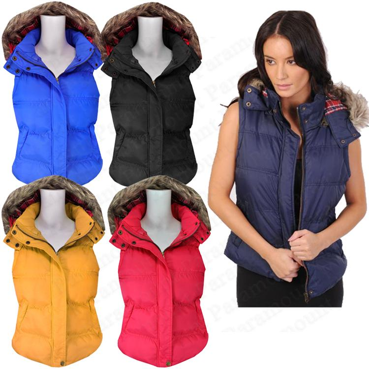 Tartan Print Fur Hood Gilet Womens Padded Body Warmer Vest