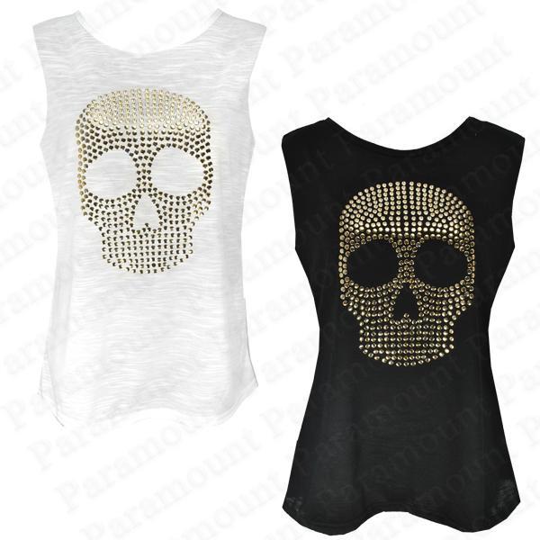t shirt damen tank top ohne arm besetzt totenkopf metall gold 36 42 neu ebay. Black Bedroom Furniture Sets. Home Design Ideas