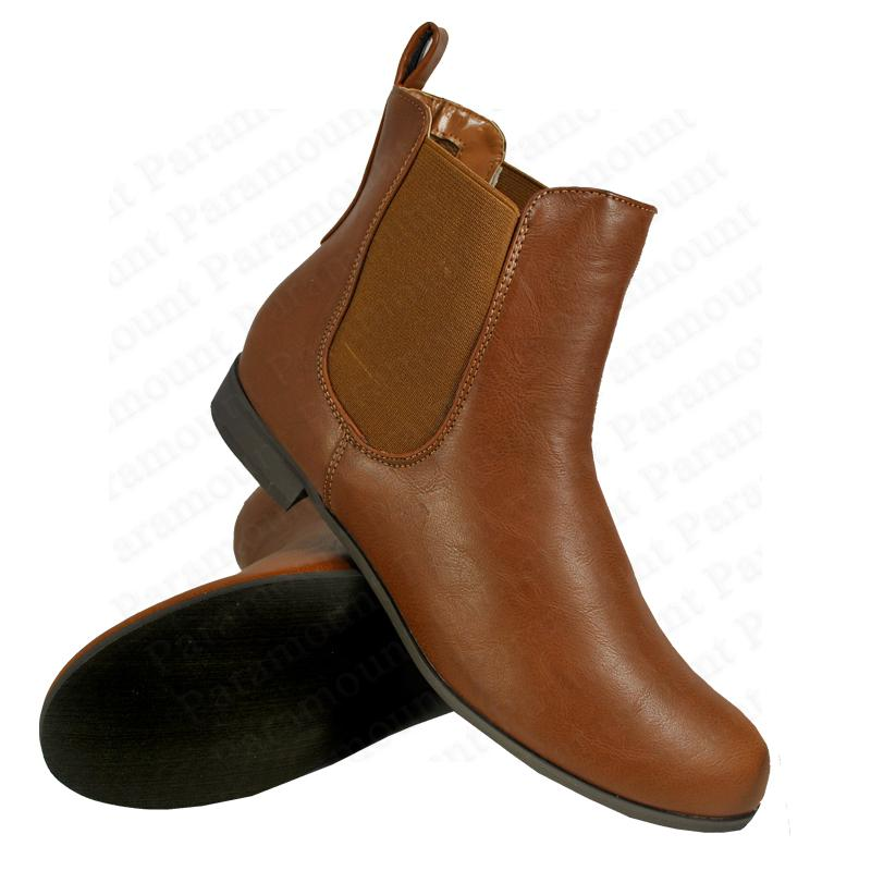 chelsea low heel stretch leather flat pull on ankle