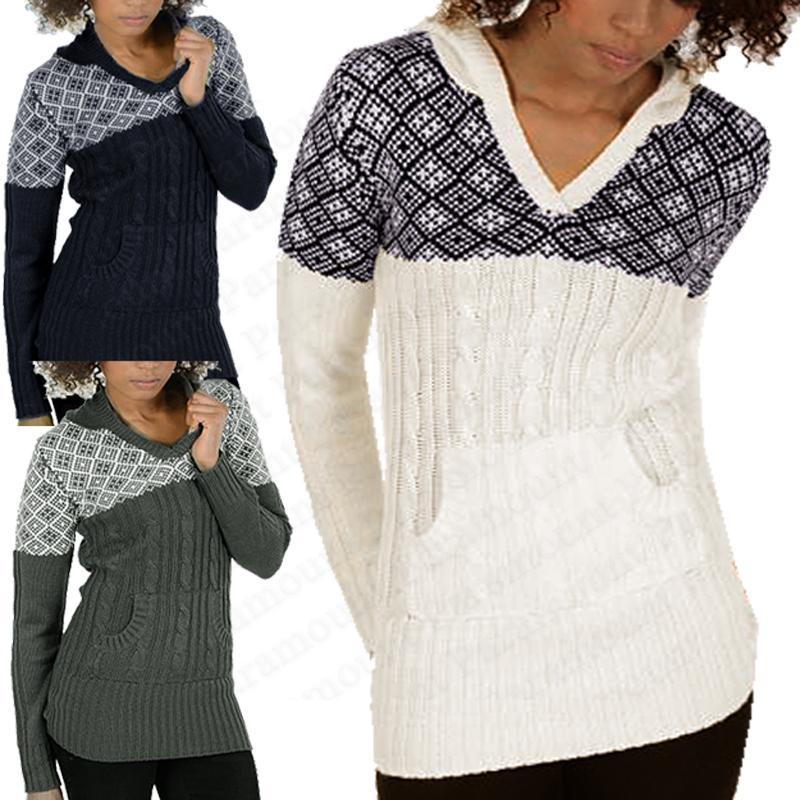 Hooded Cable Knitted Womens Fair Isle Winter Jumper Tunic Sweater ...