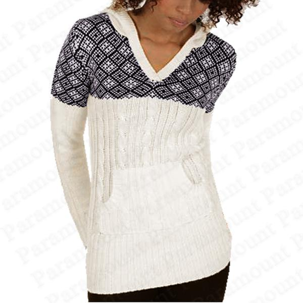 damen strick pullover mit kapuze norweger skandinavisch muster sweater. Black Bedroom Furniture Sets. Home Design Ideas