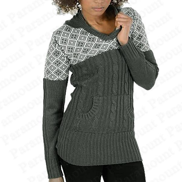 Damen strick pullover mit kapuze norweger skandinavisch muster sweater top neu ebay - Fair isle pullover damen ...
