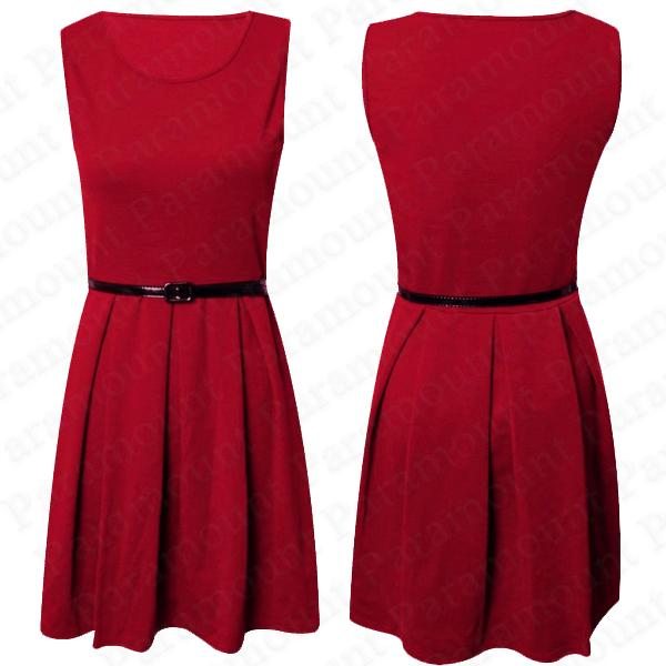 Details about Ladies Sleeveless Belted Tailored Skater Dress Pleated