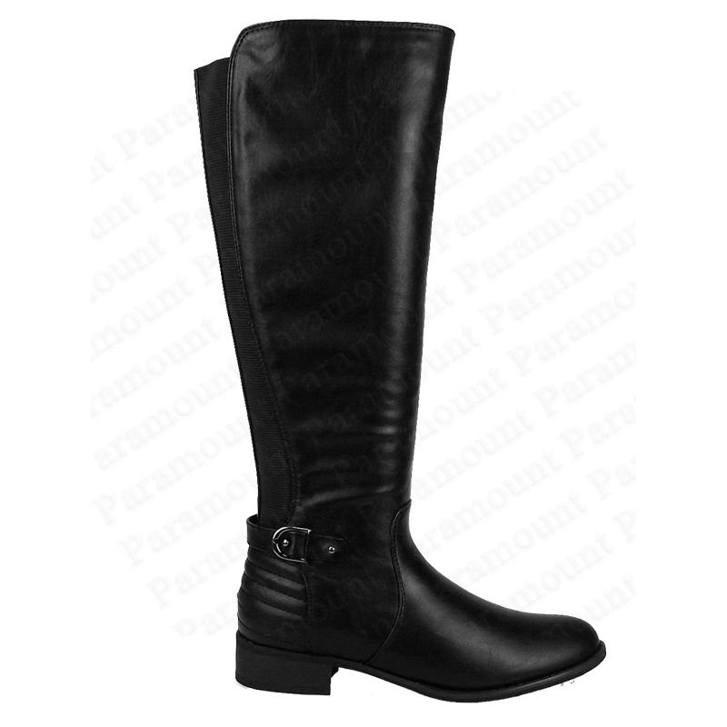 leather knee high zip stretch designer black biker boot