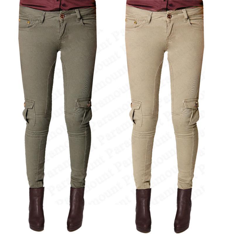 pantalon femme jean skinny jeans moullant style militaire taille 34 42 nouveau ebay. Black Bedroom Furniture Sets. Home Design Ideas