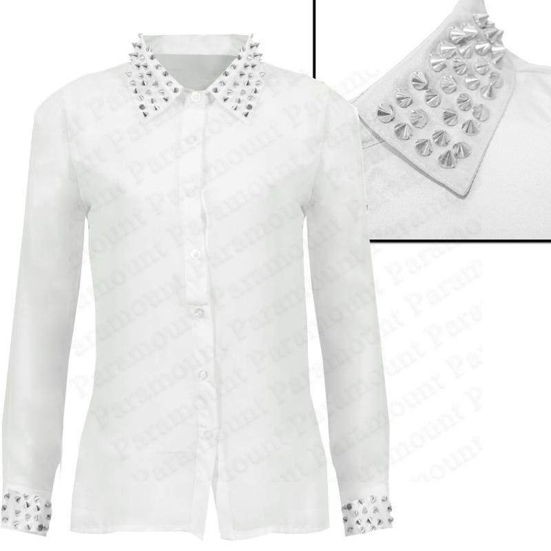damen designer bluse hemd mit nieten besetzter kragen manschetten silky fashion ebay. Black Bedroom Furniture Sets. Home Design Ideas