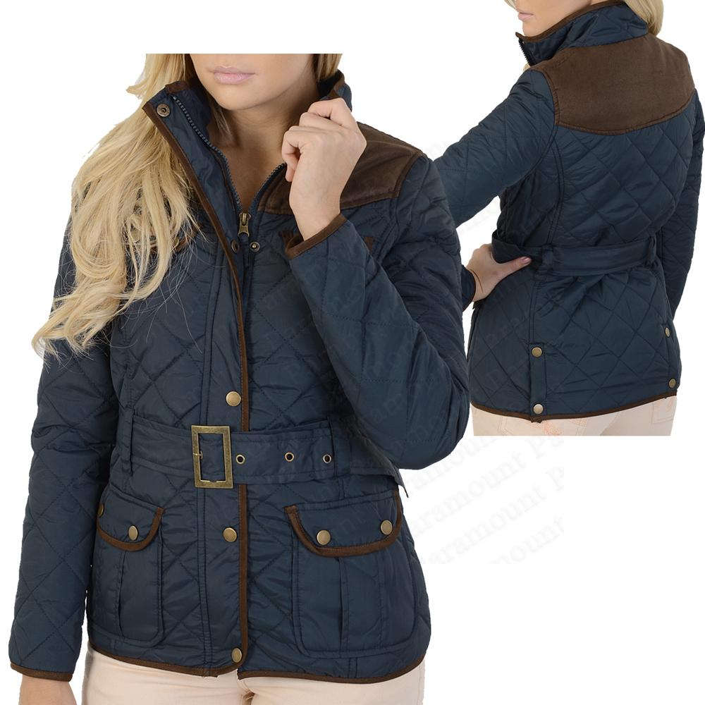 Belted-Cord-Patch-Quilted-Hawks-Country-Farmer-Jacket-Coat-Womens-Size-8-14