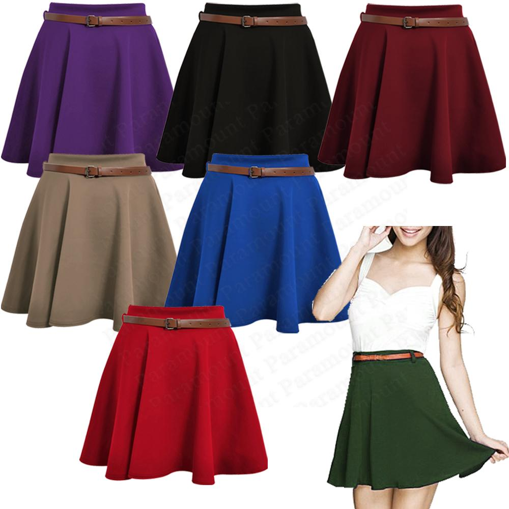 Skater-Belted-Stretch-Waist-Plain-Flippy-Flared-Jersey-Short-Skirt-Womens-Size