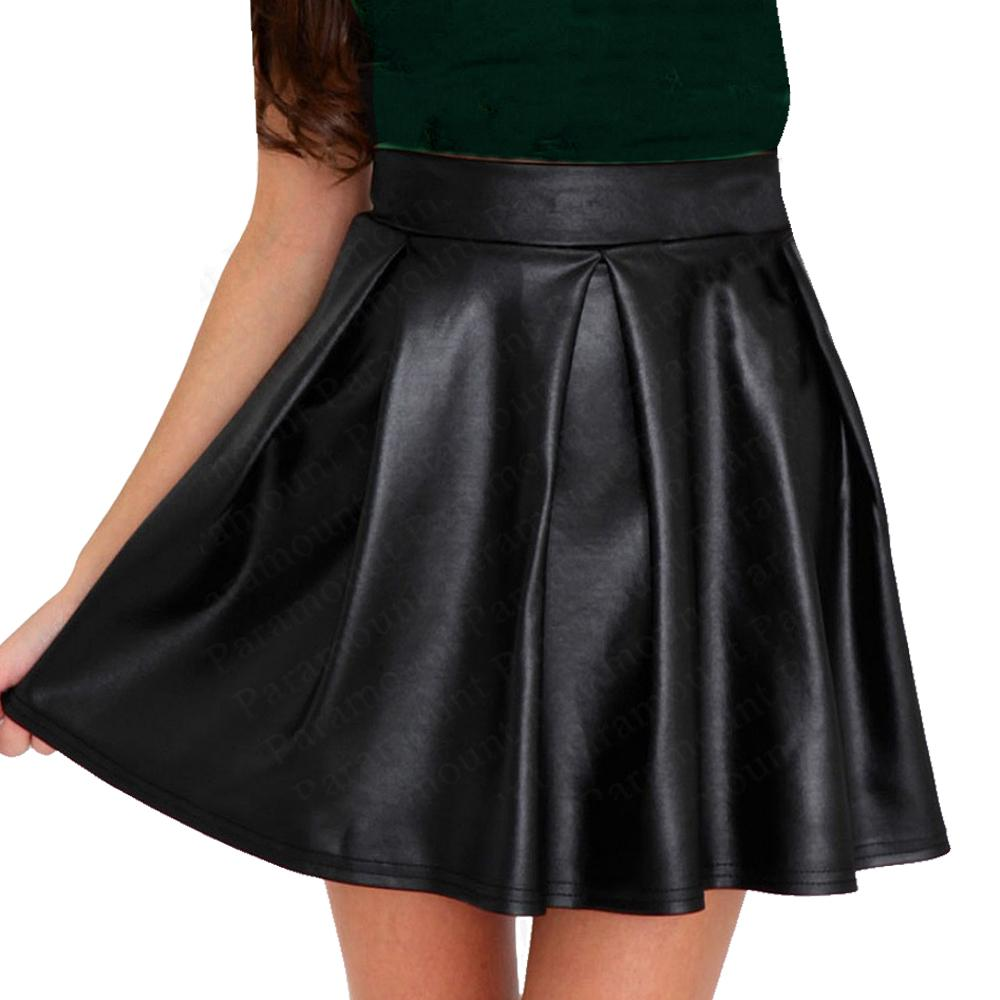 Pleated Shiny Wet Leather Look Flared Mini Zipped Skater Party ...