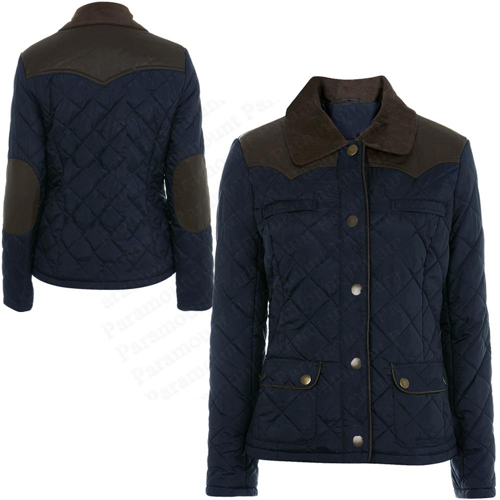 Diamond-Quilted-Leather-Shoulder-Elbow-Patch-Padded-Coat-Jacket-Womens