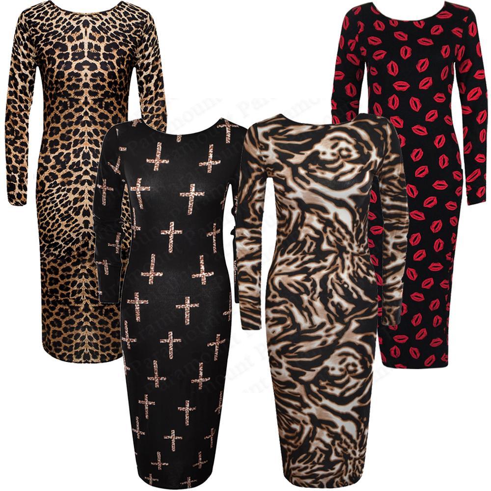 547543848e Leopard Cross Snake Tiger Lips Print Bodycon Stretch Maxi Midi Dress ...