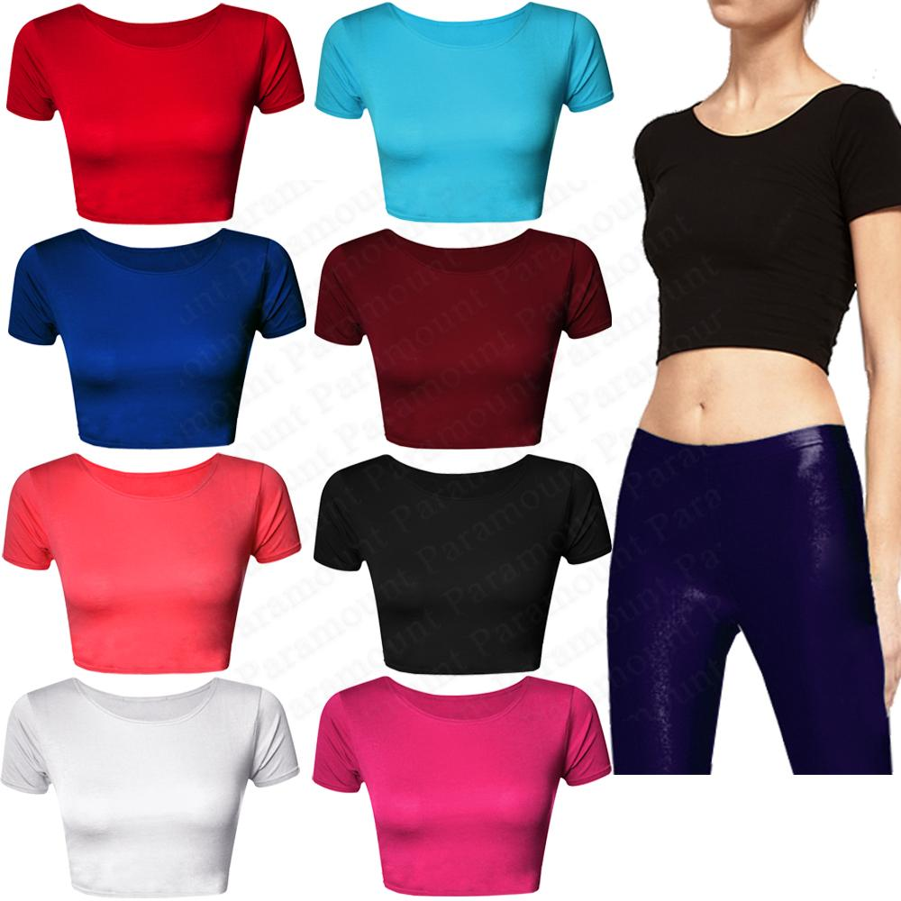 Plain-Short-Sleeve-Crop-Top-Mini-Stretch-Casual-T-Shirt-Bra-Tee-Vest-Womens-Size