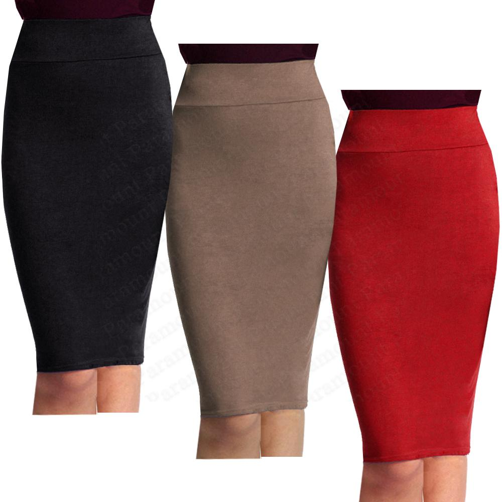 high waist knee length stretch bodycon pencil
