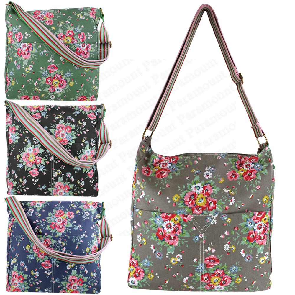 Flower Print Canvas Beach Tote Womens Shoulder Cross Body Floral Messanger Bag | EBay