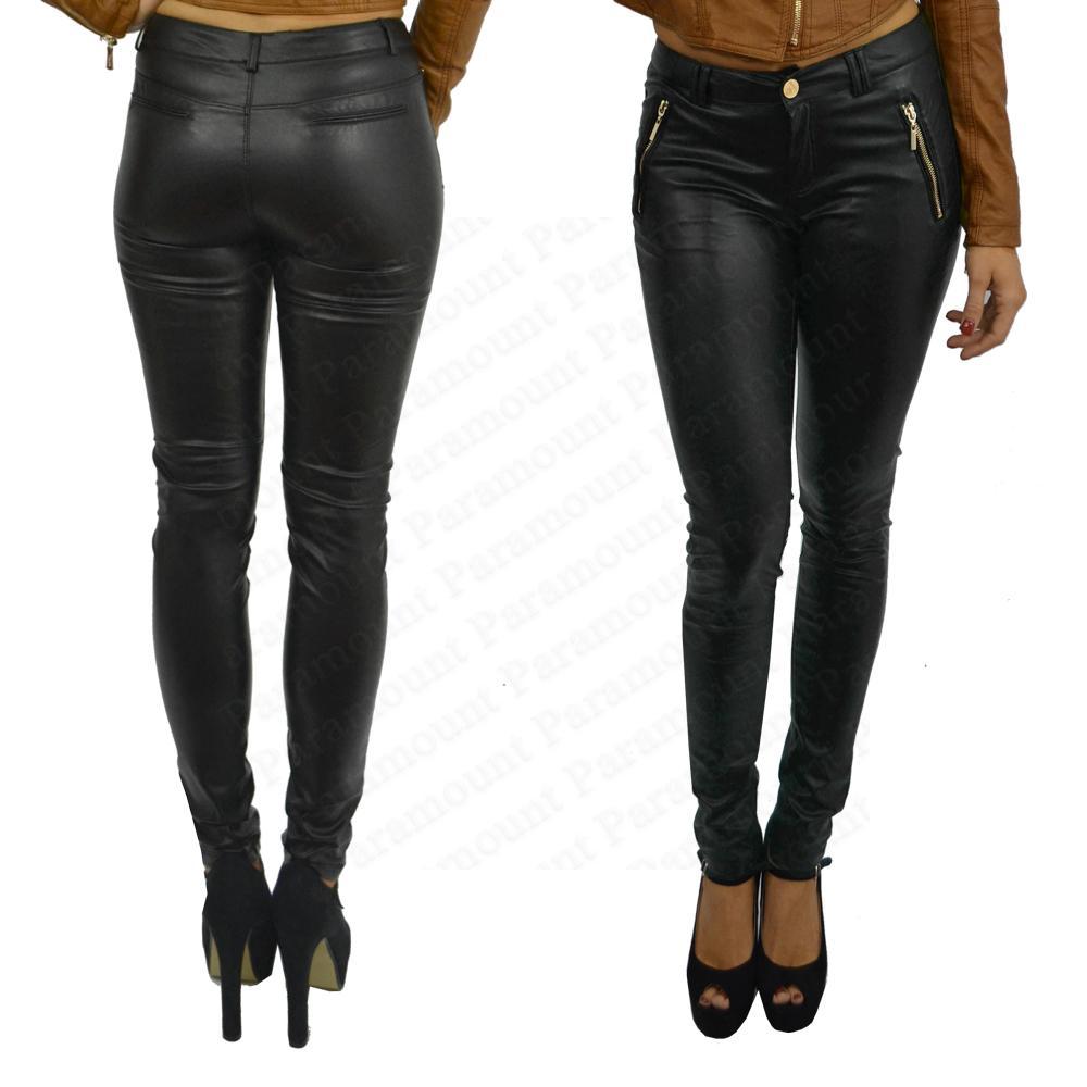 Beautiful Womens Faux Leather High Waist Leggings Stretch Skinny Pants Slim Legging BLACK | EBay