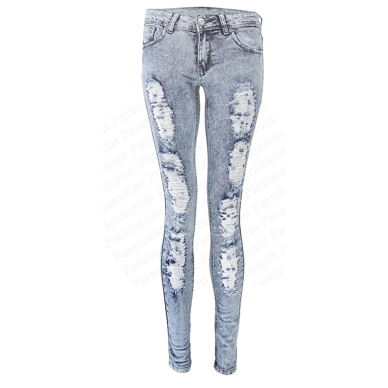 acid bleach wash ripped distressed leg stretch skinny