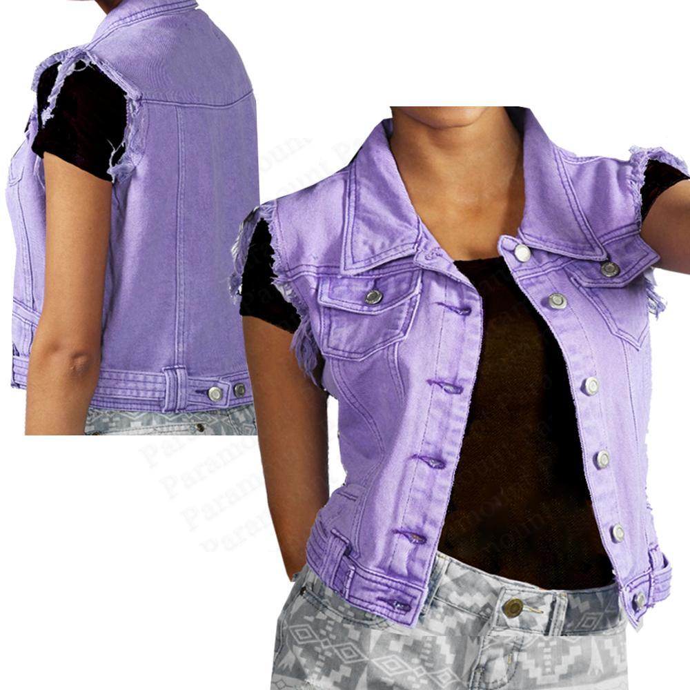 Sleeveless denim jackets for women
