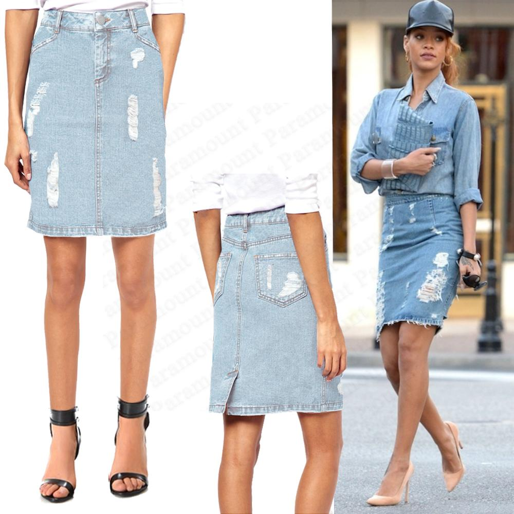 Distressed Denim Blue Stone Wash Button Waist Pencil Jean Midi ...