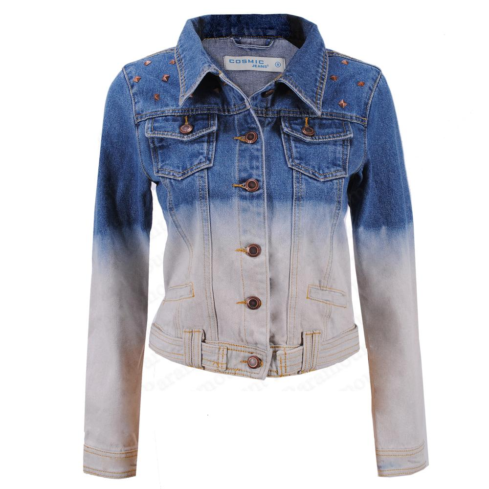 Ombre-Dip-Dyed-Denim-Fitted-Womens-Stone-Wash-Blue-Jean-Jacket-Size