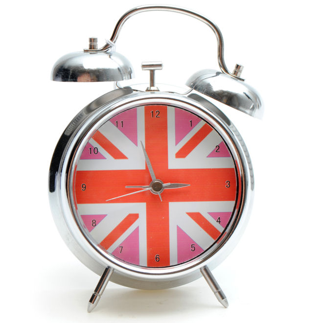 union jack battery operated alarm clock pink ebay. Black Bedroom Furniture Sets. Home Design Ideas
