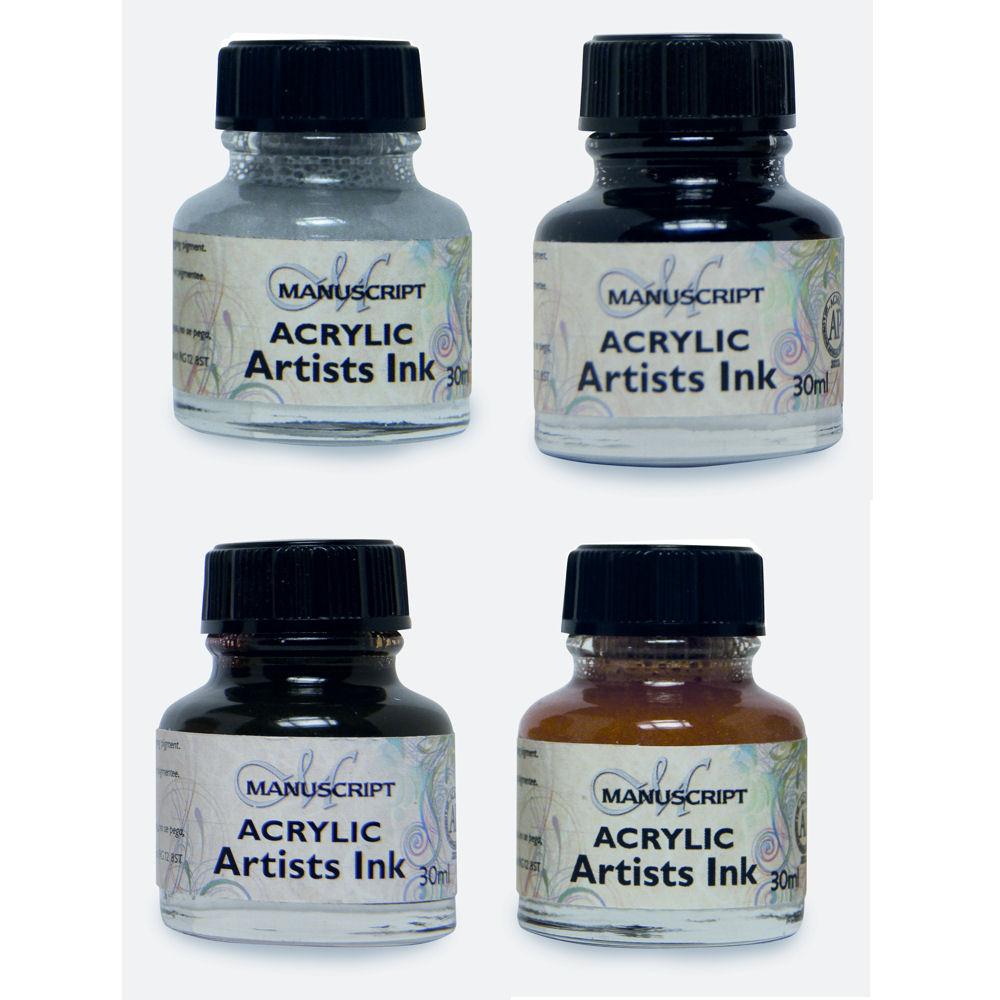 Manuscript Calligraphy Acrylic Dip Pen Ink 4 X 30ml Set