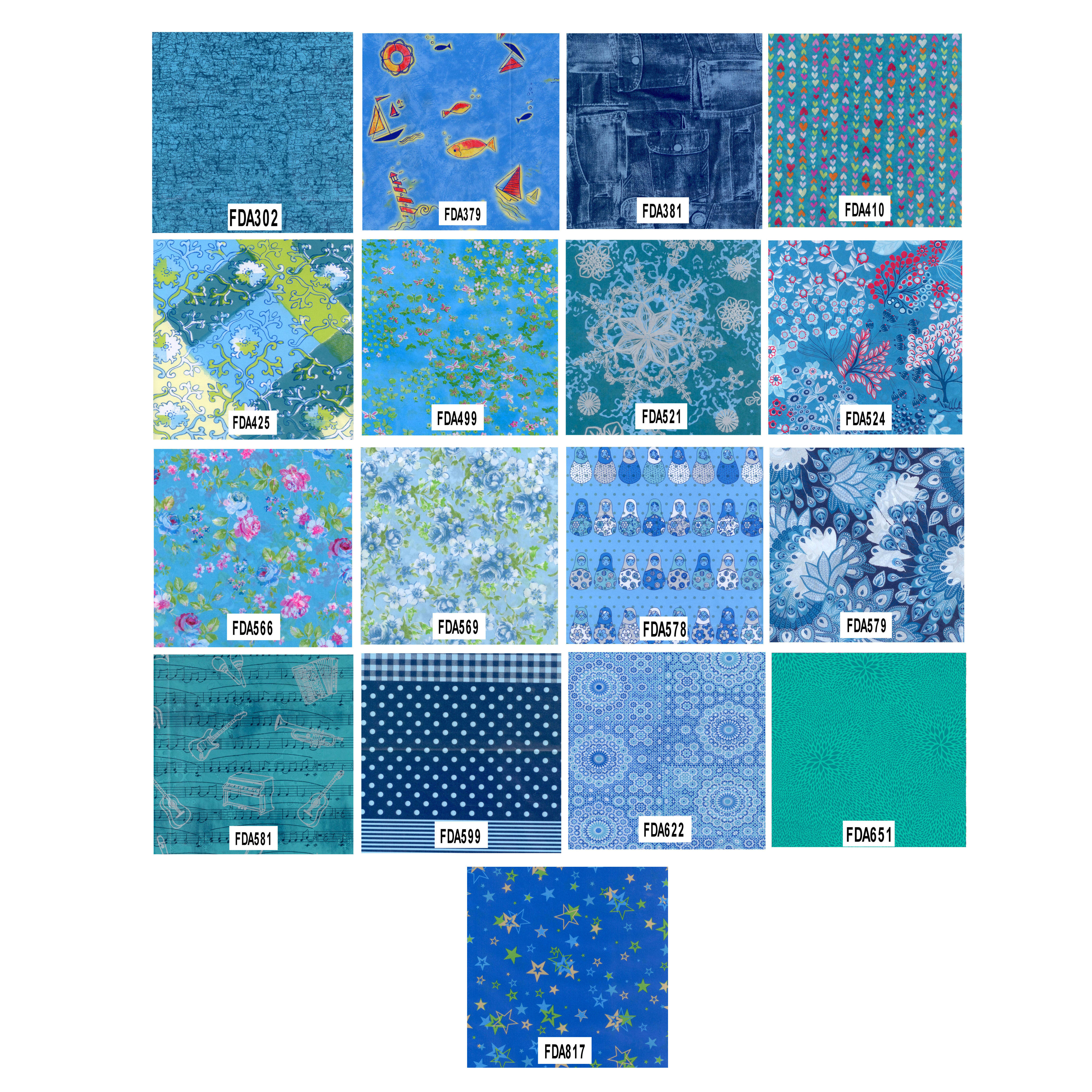 Decopatch Decoupage Printed Paper Blue Patterns Enlarged Preview