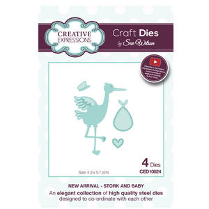 Craft Die CED10024 Sue Wilson New Arrival Collection - Stork & Baby Preview